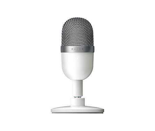 Razer Seiren Mini (Mercury) - USB Kondensator-Mikrofon für Streaming (Kompakt mit Supernieren-Richtcharakteristik, neigbarer Ständer, Integrierter Schockdämpfer) Weiß