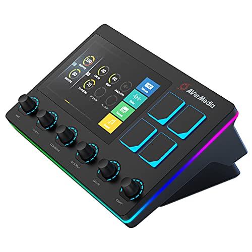 AverMedia Live Streamer AX310 - 6-Spuren Audio Mixer mit IPS-Touchscreen zur Interaktion sowie Aktionen für OBS Studio, Streamlabs OBS, Spotify