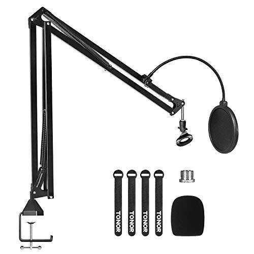 TONOR Mikrofon Ständer Gelenkarmstativ Erweiterung Arm mit Popfilter, 3/8' auf 5/8' Adapter, Mikrofon Clip, verbesserte Hochleistungs Klemme für Blue Yeti Nano Snowball iCE und andere Mikrofone (T30)