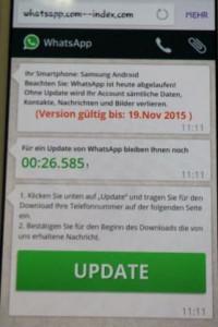 Vermeintliche Whatsapp-Update-Seite mit Countdown.